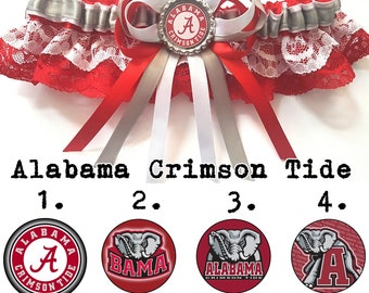 Alabama Crimson Tide Satin/satin and lace Garter/Garter Set-Your choice of embellishment.