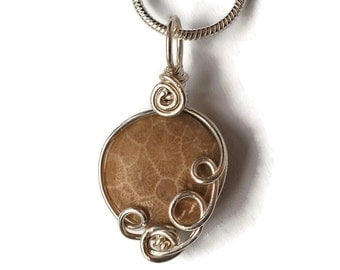 Dainty Round Fossil Coral Pendant / Agatized Coral Necklace / Ancient Ocean Fossil Jewelry / Sterling Silver / Wire Wrap Necklace