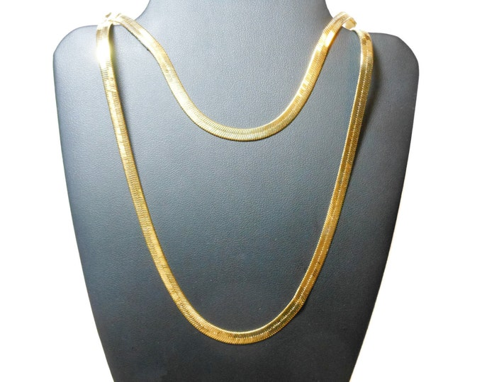 Gold plated chain necklace and bracelet, herringbone chain with lobster clasp