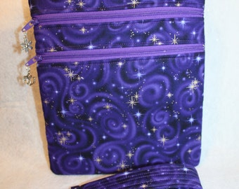 Handcrafted Crossbody Bag Purple and Gold   Adj Strap    FREE SHIPPING