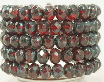 8x6MM Dark Red Garnet Picasso Glass Faceted Beads 10 Pcs.