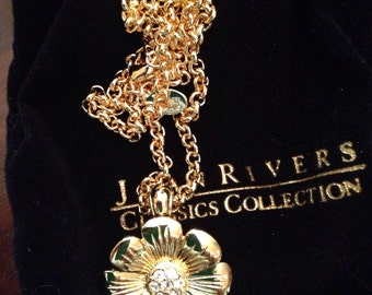 Joan Rivers classic collection CZ flower pendant necklace, signed