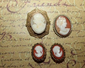 Antique Cameos Lot of 2 Pins and Earrings from N. Germany