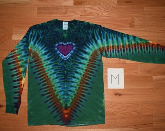 Tie Dye T-Shirt ~ Fire V with Aqua Scrunch, Purple Heart, and Emerald Green Background~ C_0151 Long Sleeve Adult Medium