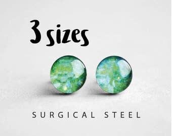 Monet post earrings, Surgical steel stud, Tiny earring studs, Art stud earrings, Turquoise earring