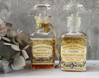 TWO French Antique Perfume Bottles with contents. EXTREMELY RARE, Bruno Court est 1812...Two Bottles...Beautiful.