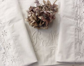 French Antique Linen Pillow Case...Monogram PM.