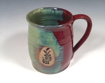 Pottery Mug - Paisley Stamp - handmade ceramic mug -  16 oz - Ready to Ship - Red and Green - ceramics - pottery - stoneware
