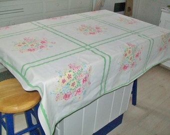 Vintage Floral Tablecloth White Green 52 x 46 Cotton Spring Tablecloth