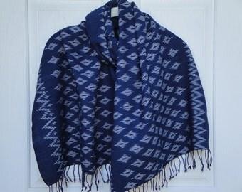 Indigo Shawl - Hand Woven - Organic Naturally Dye - Bohemian Ikat - Winter Accessories - Christmas Gift - Holiday - Scarf