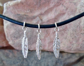 Three Small Sterling Silver Feather Charms Southwest Native American Style 18 mm
