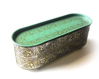 Vintage Gold Embossed Scroll Tin With Wooden Feet Oblong Shaped Metal Box Mint Green Lid Shabby Planter Window Box Trinkets