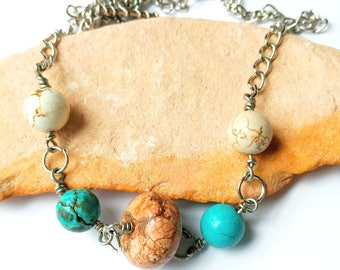 Earthtones Necklace, Turquoise, Magnesite