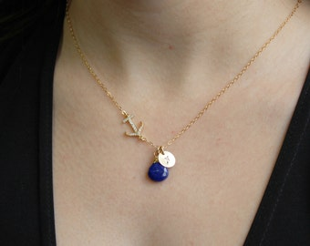 Personalized Sideway Anchor Necklace, Sideways Anchor Necklace with Birthstone, Personalized initial, Navy Wife Gift, Best Friend Necklace