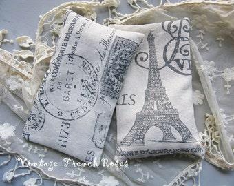 Lavender Sachet Gray French Print Toile Black Ticking Set/2 Handmade French Organic Lavender Buds Wedding Bridal Baby Shower Gift