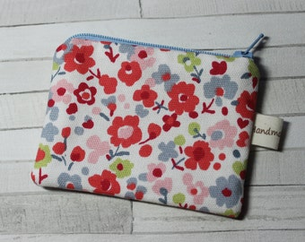 Coin purse, change purse, red and blue flowers, floral purse