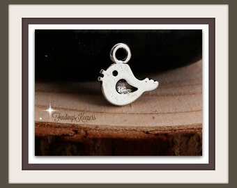 Baby Bird Charm 3 Charms Antique Silver Tone 11 x 11 mm -  ts1187