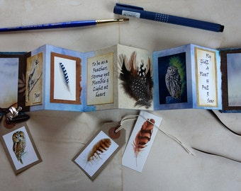 Concertina, Accordion, Artist book with Bird & Flight Theme
