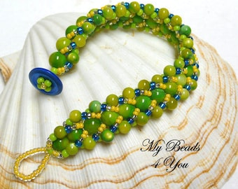 Beaded Bracelet, Flat Spiral Bracelet, Embellished Bracelet,Beadwoven Bracelet,Beadwork Bracelet, Spiral Beaded Bracelet, Seed Bead Bracelet