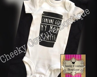 Someone get my mom a latte Funny Girl Baby Shower Gift Coming Home Newborn Glitter Bodysuit Onesie Shirt Sparkly Clothes