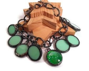 Stained Glass Bracelet Green Glass Bracelet Stained Glass Jewelry Handmade Bracelet Green Bracelet Jewelry Glass Metal Charm Bracelet Unique