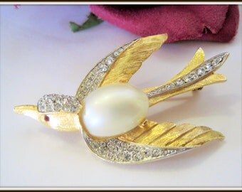 Marcel Boucher Bird Brooch - Large Faux Pearl - #6260 Pearl and Rhinestone Pin