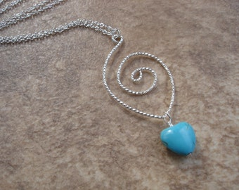 Upcycled Swirl Pendant Necklace with Turquoise Magnesite Heart, Minimalist Jewelry, Statement Jewelry, Layering Necklace