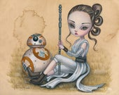 Rey And BB-8 LIMITED EDITION print signed numbered Simona Candini lowbrow pop surreal big eyes art Star Wars heroines sci-fi