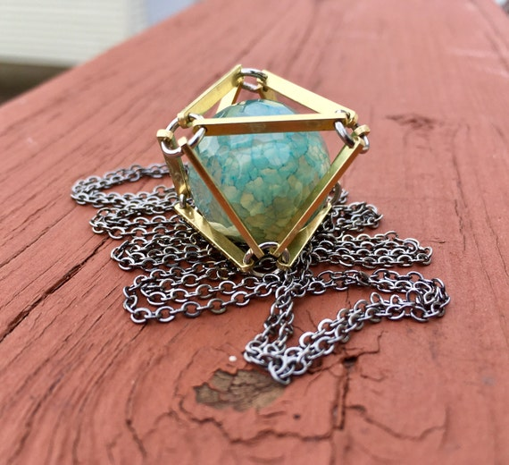 Light Blue Dragon Veins Caged In Brass Necklace