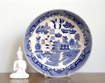 Vintage Blue Willow Serving Bowl Japan Blue White China Transferware Asian Japanese Chinoiserie Decor