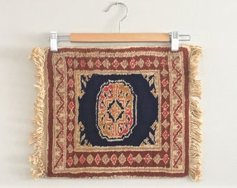 Small Vintage Persian Rug Square Sample Oriental Carpet Boho Cosmopolitan Chic