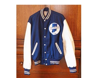 Vintage Athletic Jacket- High School Letter Jacket- Navy Blue/ White- Indiana 5 Year Club- Wabash- Mens 42