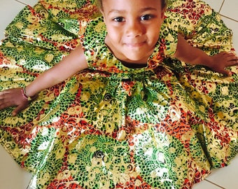 Ankara Fabric Girl's Dress, 3T girls dress, african dress for girls