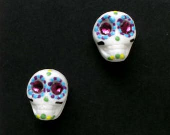 SugarSkull Earrings - Day of Dead, calaveras, birthday, mardi gras, girlfriend, sister, gift, easter
