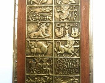 Ornate Brass Metal Zodiac Small Wall Plaque c 1970s