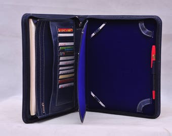 iPad Pro 12.9 Top-level Multi-functional leather handmade blue leather iPad holder bag in Blue for business conference or for birthday gift