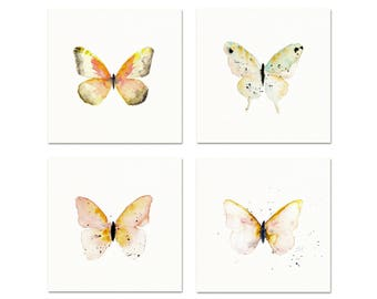Watercolor Butterfly Art Prints. Set of Four Butterfly Art Prints. Soft Pastel Pink & Green Butterfly Paintings. Nursery Gallery Wall Prints