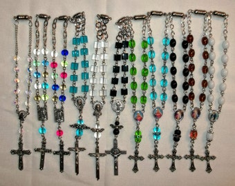 Car Auto Rear View Mirror rosary,  Rosary Bracelet, Choose of 1 chose your color