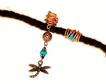 Dreadlock Jewelry - Anqitue Copper Dragonfly Loc Jewel and Coordinating Slide