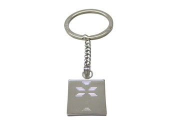 Silver Toned Etched Triple Cross Keychain