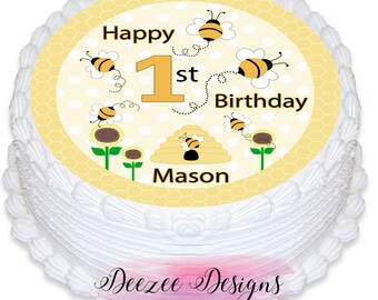 Bumblebee Bee Personalised Round Edible Icing Cake Topper - PRE-CUT