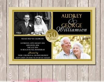 Photo Personalised 50th, 60th, 25th Wedding Anniversary Invitation - YOU PRINT