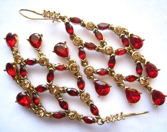 SALE Red Rhinestone Chanedlier Vintage Earrings with Light Citrine Rhinestone Accents on Brilliant Gold Tone Linked Foundation