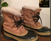 Vintage Beige Shearling SOREL Caribou Boots - Winter Snow Boots - Caribou Sorels - Rubber Duck Boots - Fits Womens US 9 Mens 7.5 EU 40