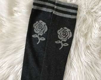 Charcoal Gray Rose Baby Legs / Leg Warmers