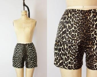 vintage 60s leopard print shorts / 1960s leopard shorts / animal print short / leopard lounge wear / high waisted leopard shorts