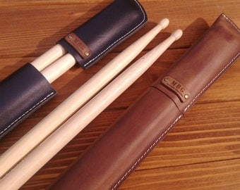Personalized leather drumstick bag,  drumstick holder,leather  drumstick case ,pouch,drummer, drumsticks, percussion,gift for drummer,rock