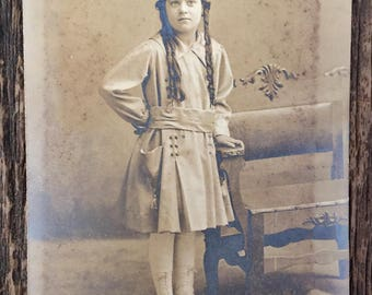 Original Antique Photograph The Girl with the Long Curls
