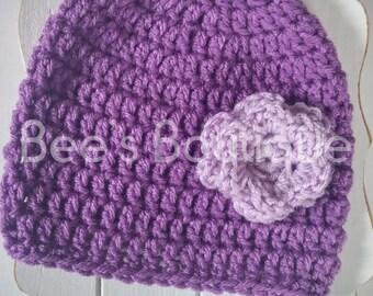 purple crochet hat with flower embellishment 3-6months