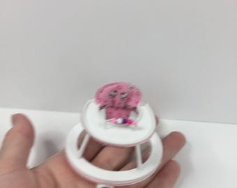 DOLLS HOUSE, 1/12th scale baby walker, pink kitty design